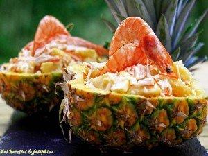crevettes dans leur ananas